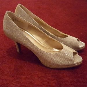 Silver & gold shimmer pumps